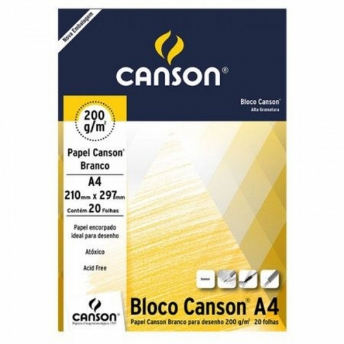 Bloco Canson Desenho Branco, 200g/m², tamanho A4, com 20 folhas Canson