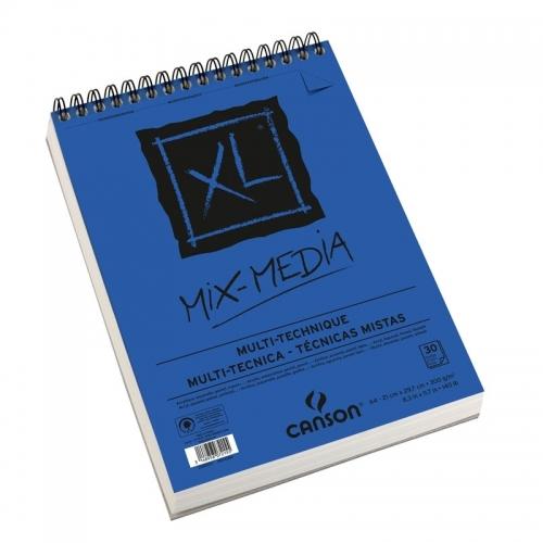 Bloco XL Mix Media 300 g/m², tamanho A4, com 30 folhas Canson